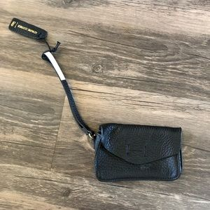 Black leather wristlet from the Gap.